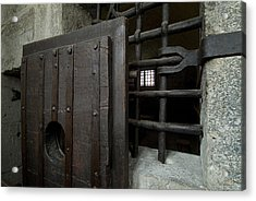 Close View Of Heavy Door To A Cell Acrylic Print by Todd Gipstein