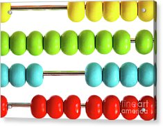 Closeup Of Bright  Abacus Beads On White Acrylic Print