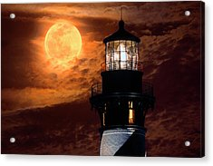 Closeup Of Full Moon Rising Over St Augustine Lighthouse Acrylic Print