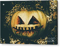 Closeup Of Halloween Pumpkin With Scary Face Acrylic Print by Jorgo Photography - Wall Art Gallery