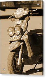 Closeup Of Jesus Scooter In Sepia Acrylic Print