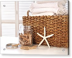 Closeup Of Laundry Basket With Fine Linens  Acrylic Print by Sandra Cunningham
