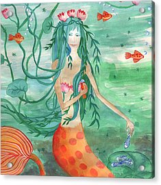 Closeup Of Lily Pond Mermaid With Goldfish Snack Acrylic Print by Sushila Burgess