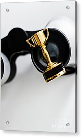 Closeup Of Small Trophy And Binoculars On White Background Acrylic Print by Jorgo Photography - Wall Art Gallery