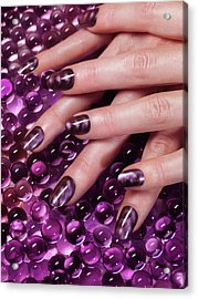 Closeup Of Woman Hands With Purple Nail Polish Acrylic Print by Oleksiy Maksymenko
