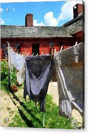 Clothes Hanging On Line Closeup Acrylic Print by Susan Savad