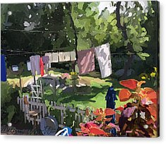 Clothesline And Coleus In An East Gloucester  Ma Garden  Acrylic Print