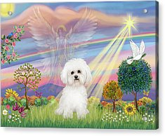 Cloud Angel And Bichon Frise Acrylic Print