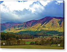 Cloud Covered Peaks Acrylic Print by DigiArt Diaries by Vicky B Fuller