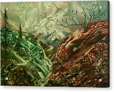 Cloud Mountain Acrylic Print by John Vandebrooke