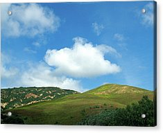 Cloud Over Hills In Spring Acrylic Print by Kathy Yates