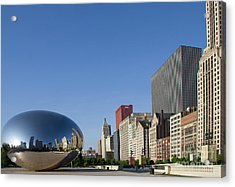 Cloudgate Reflects Michigan Avenue  Acrylic Print
