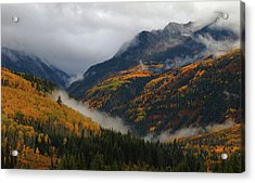 Acrylic Print featuring the photograph Clouds And Fog Encompass Autumn At Mcclure Pass In Colorado by Jetson Nguyen
