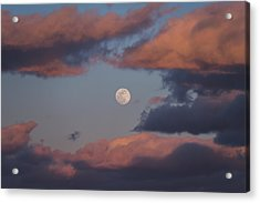 Acrylic Print featuring the photograph Clouds And Moon March 2017 by Terry DeLuco
