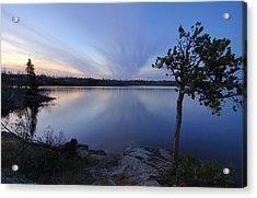 Clouds At Sunset On Seagull Lake Acrylic Print by Larry Ricker