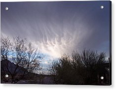 Clouds In Desert Acrylic Print by Mordecai Colodner