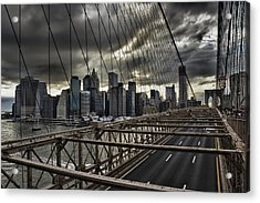 Clouds Over Manhattan Acrylic Print by Andreas Freund