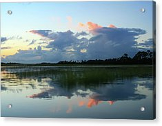 Clouds Over Marsh Acrylic Print by Patricia Schaefer