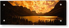 Clouds Over Mountains, Mcdonald Lake Acrylic Print by Panoramic Images