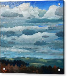 Acrylic Print featuring the painting Clouds Over South Bay by Gary Coleman