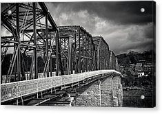 Acrylic Print featuring the photograph Clouds Over Walnut Street Bridge In Black And White by Greg Mimbs