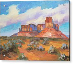Acrylic Print featuring the painting Clouds Passing Monument Valley by Diane McClary