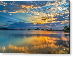 Clouds Reflected At Sunrise Acrylic Print by Marc Crumpler