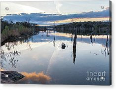 Clouds Reflecting On Large Lake During Sunset Acrylic Print