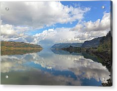 Clouds Reflection On The Columbia River Gorge Acrylic Print by David Gn