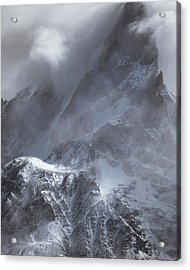 Clouds Rolling Over The Tops Of The Mountain In Torres Del Paine, Chile Acrylic Print