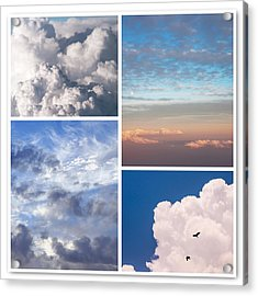 Acrylic Print featuring the photograph Cloudscapes Collage by Jenny Rainbow
