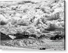 Acrylic Print featuring the photograph Cloudy Beach Black And White By Kaye Menner by Kaye Menner