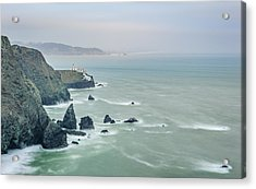 Cloudy Day At Marin Headlands - Point Bonita Lighthouse Photograph Acrylic Print by Duane Miller