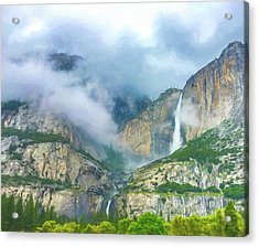 Cloudy Day At Yosemite Falls Digital Watercolor Acrylic Print