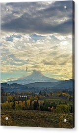 Cloudy Day Over Mount Hood At Hood River Oregon Acrylic Print