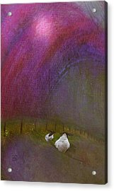 Acrylic Print featuring the digital art Cloudy Day Sheep by Jean Moore
