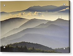 Cloudy Layers On The Blue Ridge Parkway - Nc Sunrise Scene Acrylic Print by Rob Travis