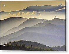 Cloudy Layers On The Blue Ridge Parkway - Nc Sunrise Scene Acrylic Print by Rob Travis