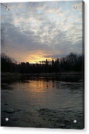 Acrylic Print featuring the photograph Cloudy Mississippi River Sunrise by Kent Lorentzen