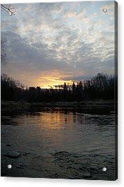 Cloudy Mississippi River Sunrise Acrylic Print by Kent Lorentzen