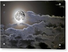 Cloudy Moon Acrylic Print