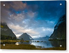 Cloudy Morning At Milford Sound At Sunrise Acrylic Print by Ulrich Schade
