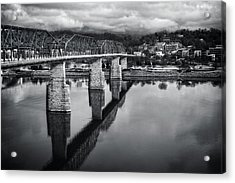Cloudy Morning At The Walnut Street Bridge In Black And White Acrylic Print