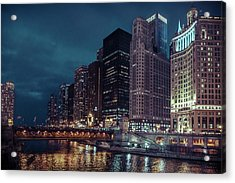 Cloudy Night Chicago Acrylic Print