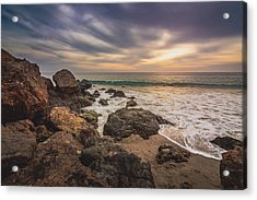 Cloudy Point Dume Sunset Acrylic Print