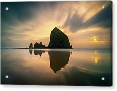 Cloudy Sunset At Cannon Beach Acrylic Print