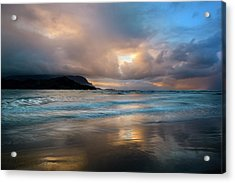 Cloudy Sunset At Hanalei Bay Acrylic Print