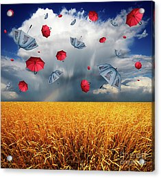 Cloudy With A Chance Of Umbrellas Acrylic Print