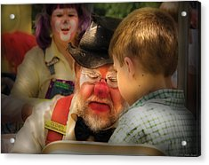 Clown - Face Painting Acrylic Print by Mike Savad