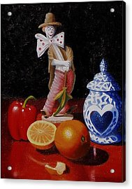 Acrylic Print featuring the painting Clown Around Fruit by Gene Gregory